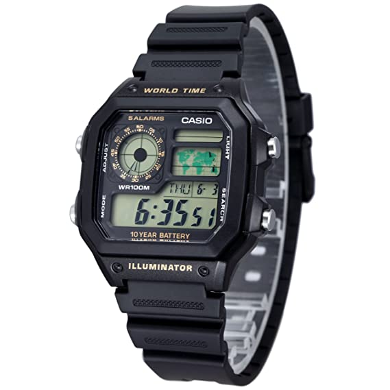Casio AE-1200WH-1B - Reloj digital de cuarzo para hombre, correa de resina color negro: Casio: Amazon.es: Relojes