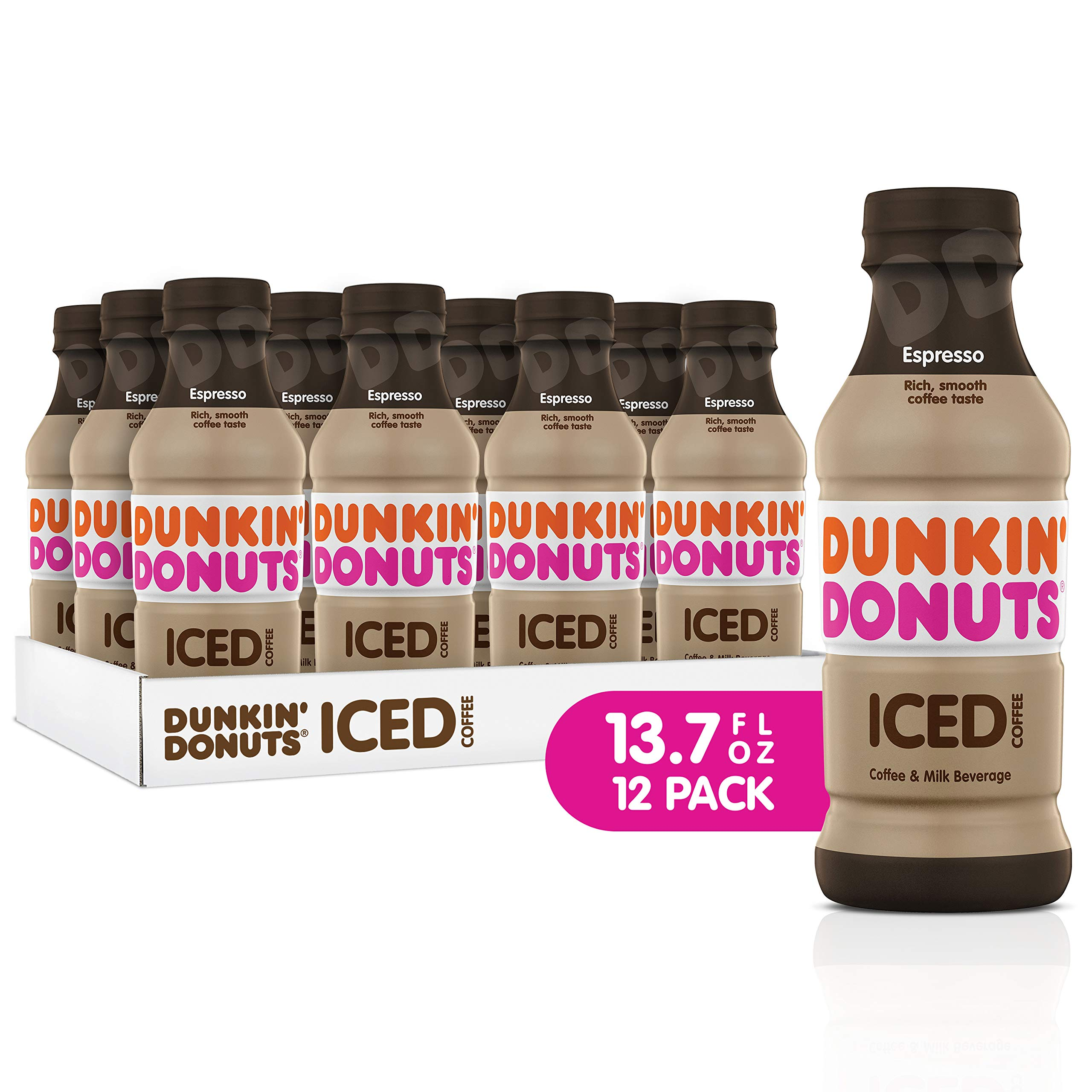 Dunkin Donuts Iced Coffee, Espresso, 13.7 Fluid Ounce (Pack of 12) by Dunkin Donuts