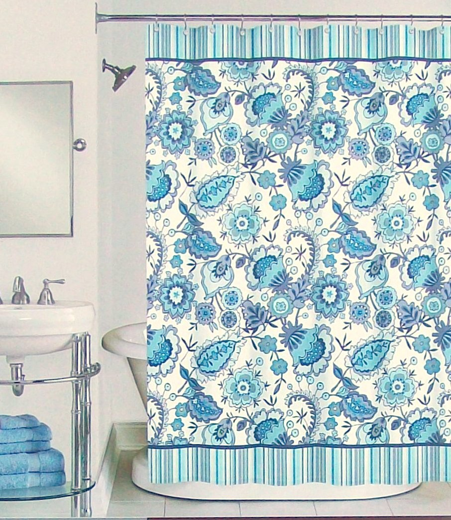 Peri bathroom accessories - Amazon Com Peri Henley Floral Fabric Shower Curtain In Shades Of Navy Teal Turquoise Aqua Grey Black On White Home Kitchen