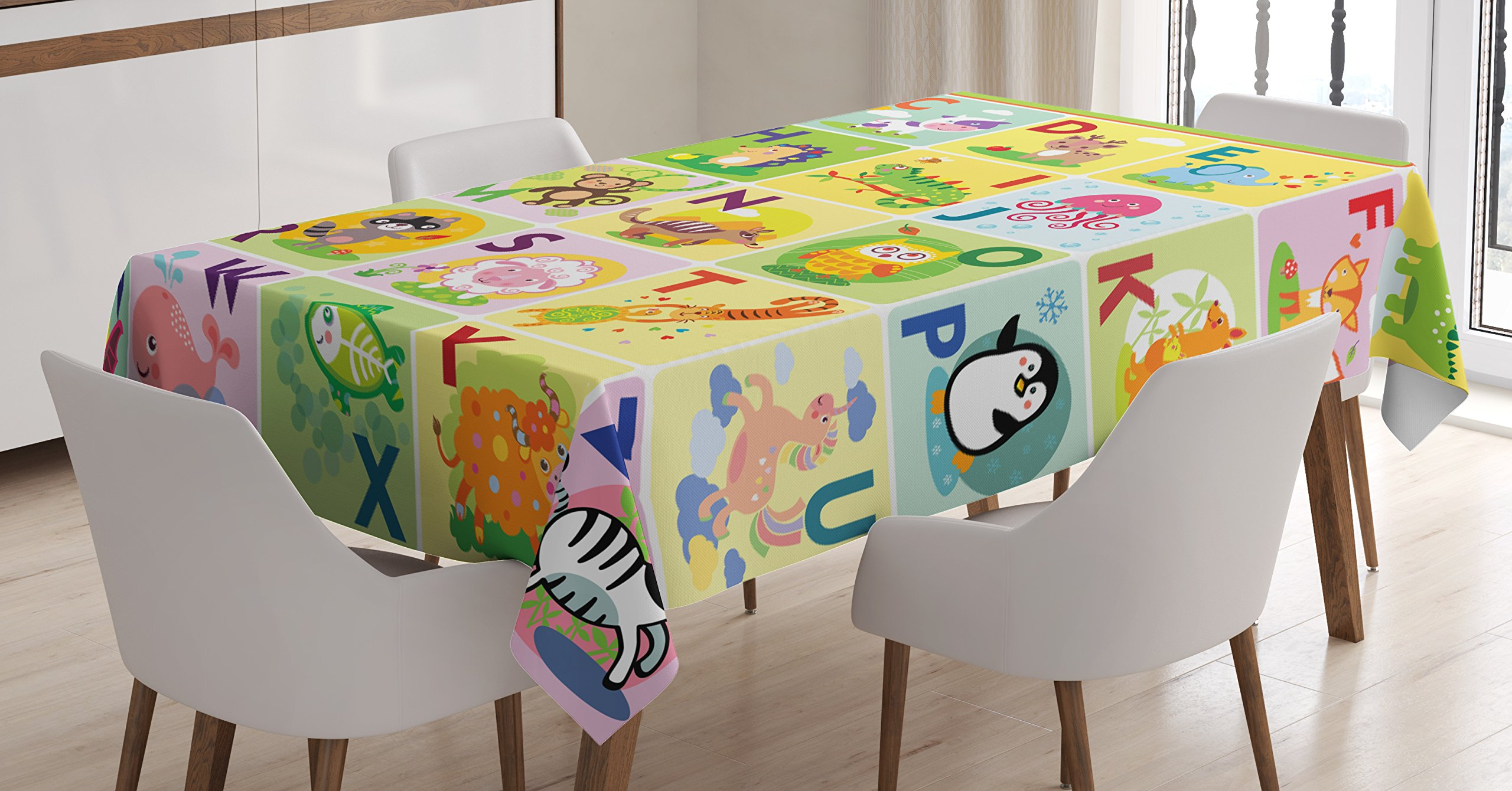 Lunarable ABC Kids Tablecloth, Colorful Wildlife Animal Alphabet A-Z Cartoon Zebra Penguin in Isolated Squares, Dining Room Kitchen Rectangular Table Cover, 60 W X 90 L inches, Multicolor