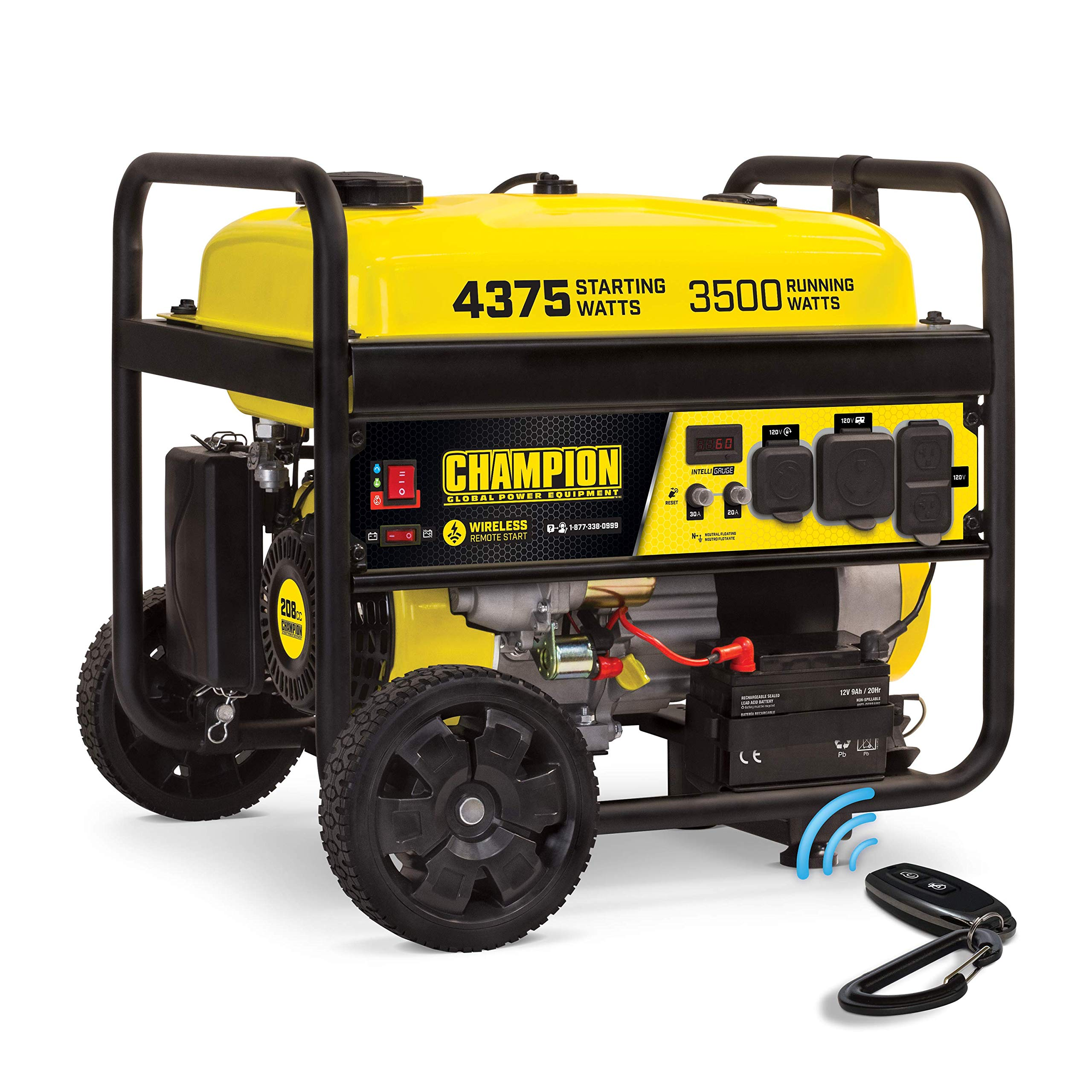 Champion Power Equipment 100554 RV Ready Wireless Remote Start Portable Generator, Black and Yellow
