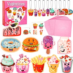 SUKKI Valentines Day Cards for Kids 30 Sets with Envelopes Pendant Gifts and Temporary Tattoos - Perfect Greeting Exchange Cards for Classmates Boys Girls Party Favors