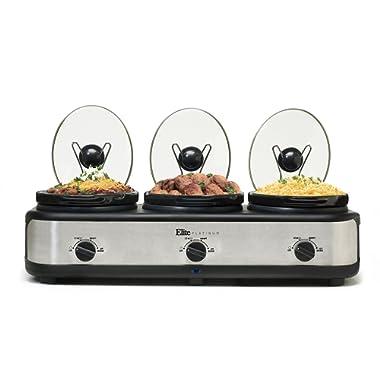Elite Platinum EWMST-325 Maxi-Matic Triple Slow Cooker Buffet with Lid Rests, Black/Silver