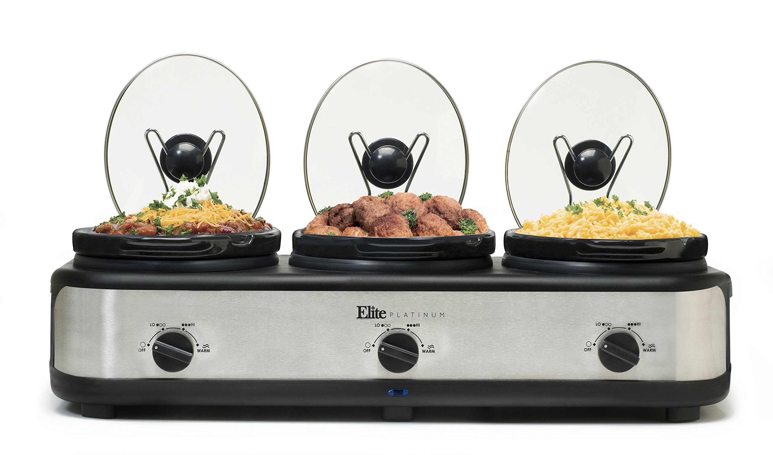 Elite Platinum EWMST-325 Maxi-Matic Triple Slow Cooker Buffet with Lid Rests, Black/Silver