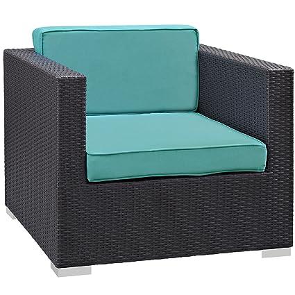 Modway Convene Outdoor Patio Armchair, Espresso Turquoise