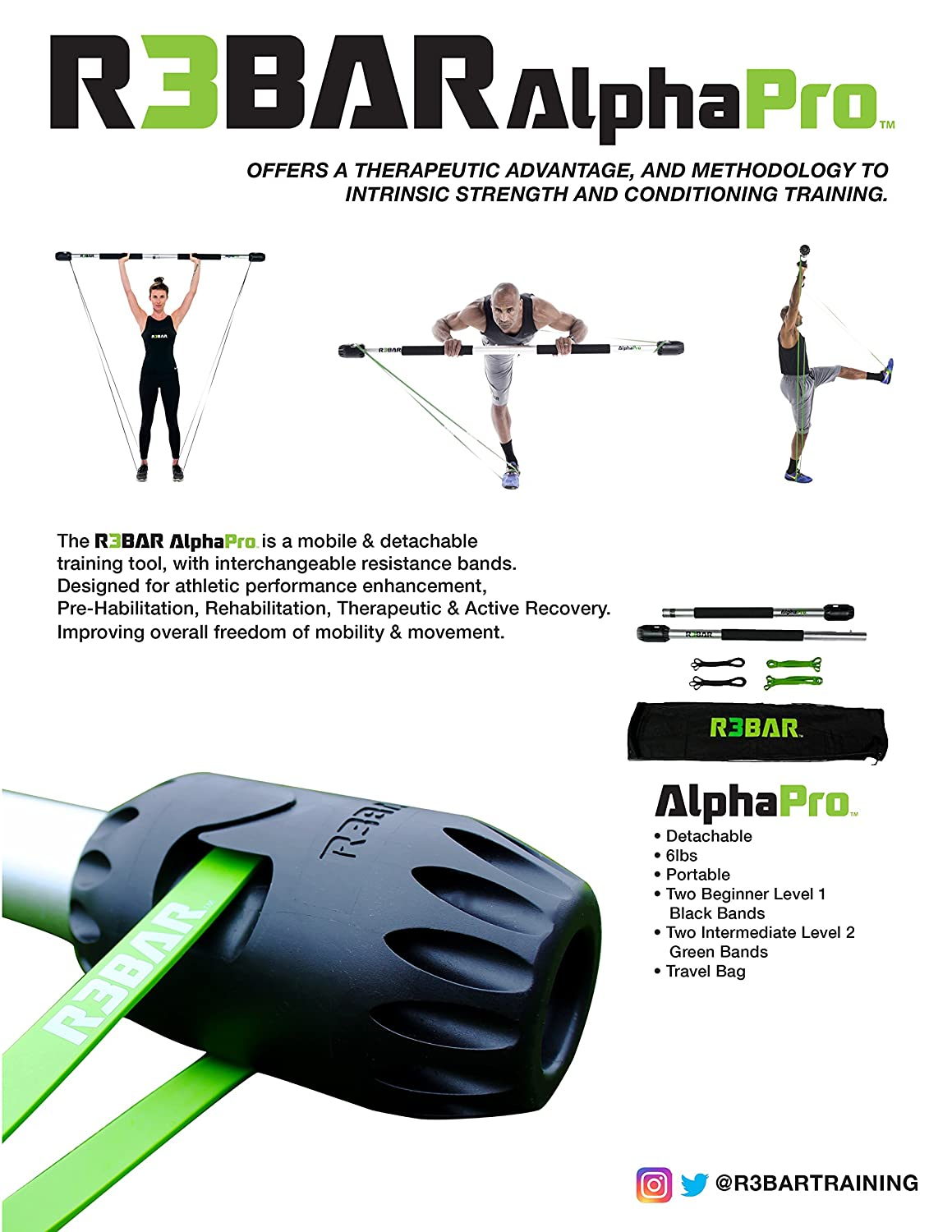 R3BAR AlphaPro Exercise Strength & Conditioning Training Tool for Athletic  Performance Enhancement, Core Stabilization, Pre-habilitation,