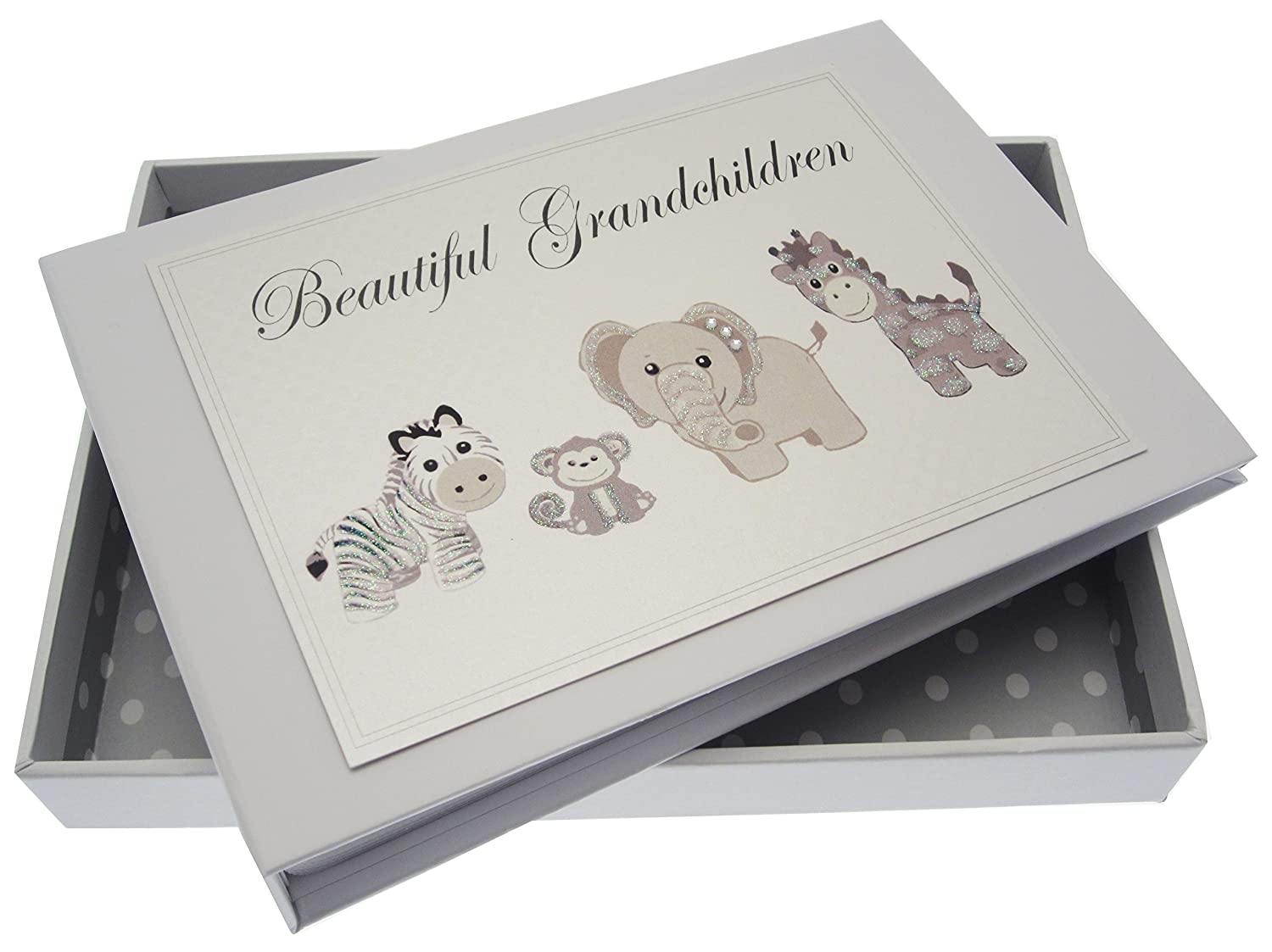 White Cotton Cards Beautiful Grandchildren Silver Toys Tiny Album TS15