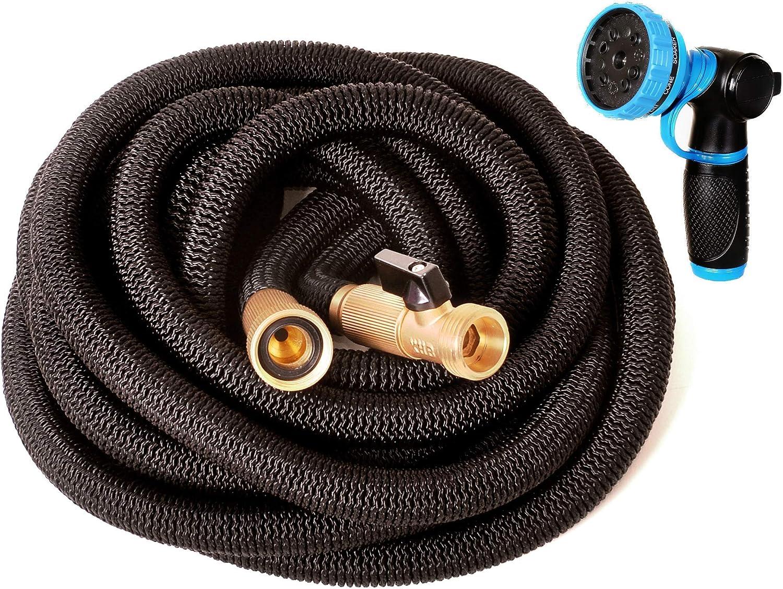 Riemex Expandable Garden Hose Black 50 FT [New 2020] Heavy Duty Water Hose - Triple Latex - Expanding Solid Brass Metal Fittings Connectors, Flexible Strongest, Hose Nozzle Heavy Duty