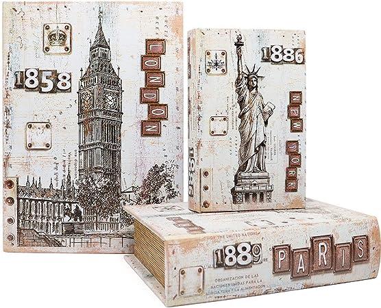 Jolitac - Cajas Decorativas para Libros con diseño de Mapa del Mundo, Caja Invisible con Tapa magnética, Juego de 3 Cajas de Almacenamiento de Madera sintética: Amazon.es: Hogar