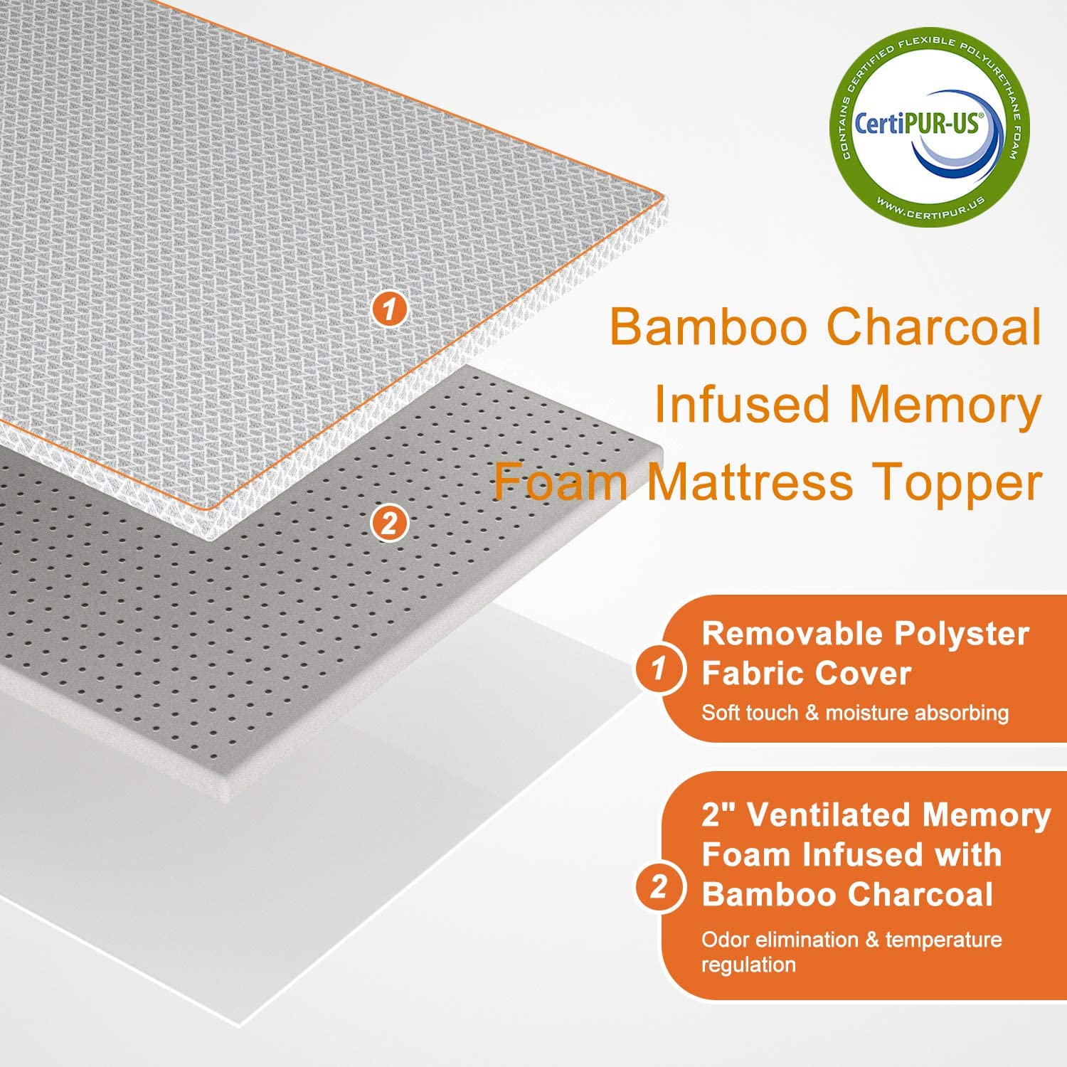 "Maxzzz 2"" Bamboo Charcoal Infused Memory Foam Mattress Topper, Hypoallergenic & Odor-Resistant Foam Toppers for Bed with Washable Cover, Ventilated & CertiPUR-US Certified Foam Bed Topper, Full Size: Kitchen & Dining"