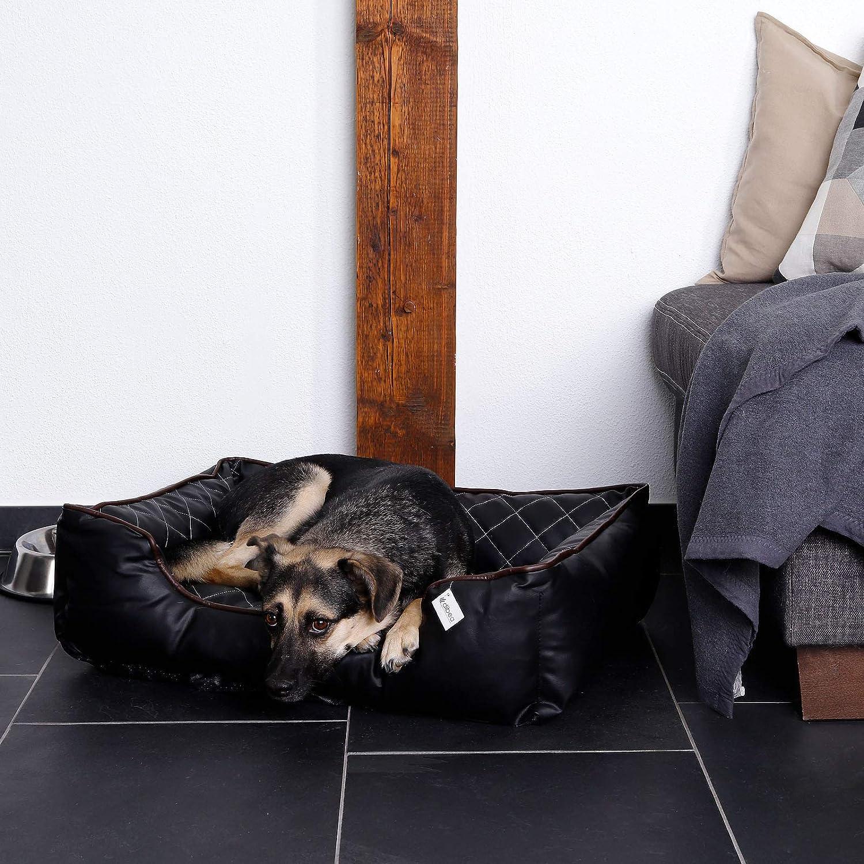 Negro dibea Premium Dog bed DB00183 120 x 85 cm XL Cama para perros en imitaci/ón de piel