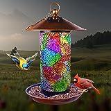 XDW-GIFTS Solar Bird Feeder for Outside Hanger - Bird House for Outdoor Mosaic Copper Birdfeeder Unique Garden Bird gifts