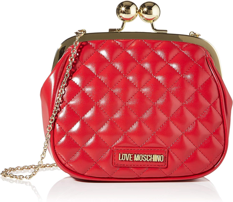 Love Moschino Borsa Quilted Nappa PU, bolso bandolera para Mujer, rojo, 17x19x6 centimeters (W x H x L)