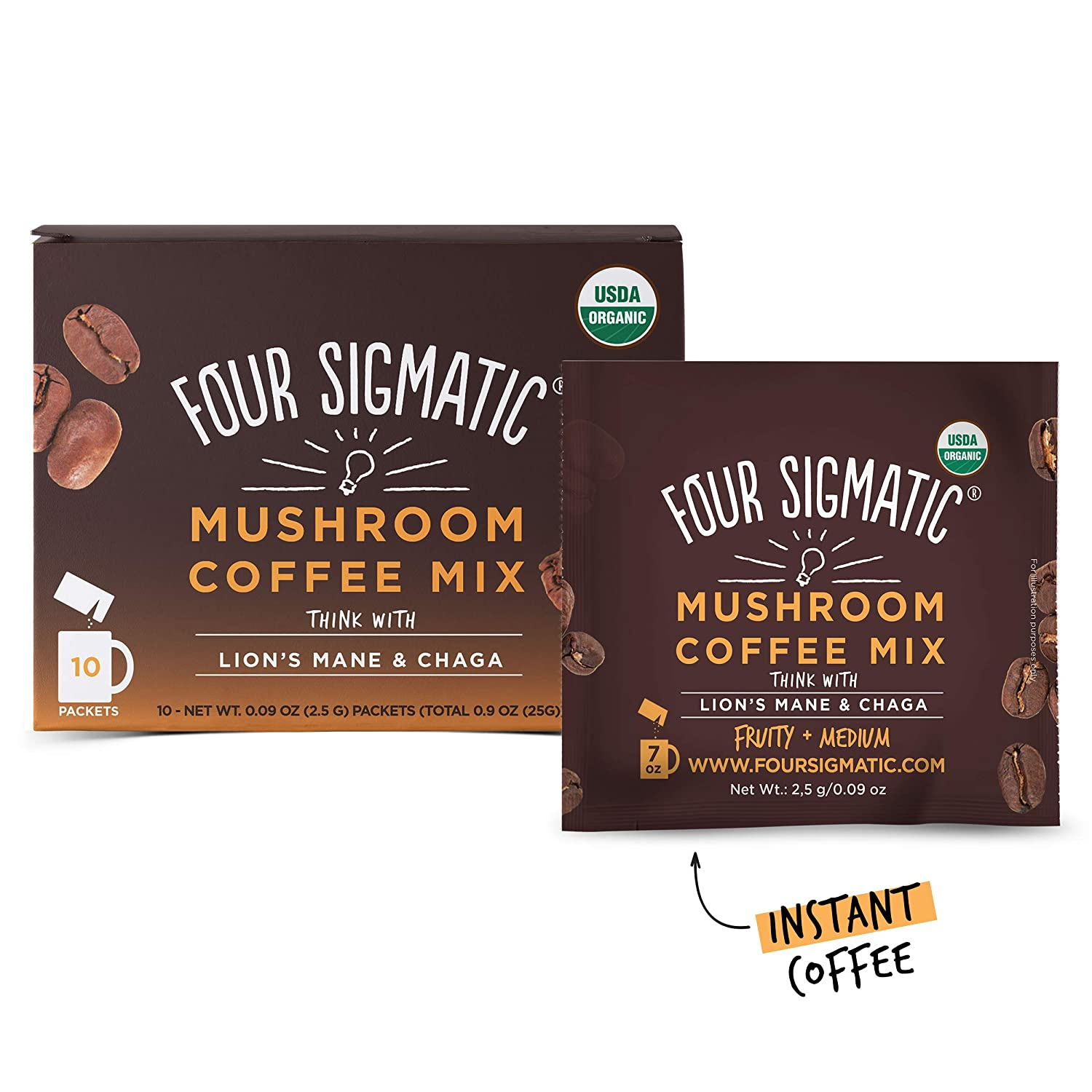 Four Sigmatic Mushroom Coffee with Lion's Mane & Chaga For Concentration +  Focus, Vegan,