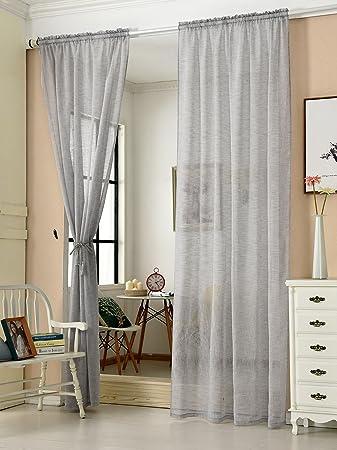 Cystyle 1er Gardinen Vorhänge Transparent Leinen Optik Mit Kräuselband,  Vorhang Voile Fensterschal Dekoschal Für Wohnzimmer Kinderzimmer ...