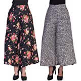 2DAY's Women Stylish Palazzo Black base Floral and Black Heart Print (Pack of 2)