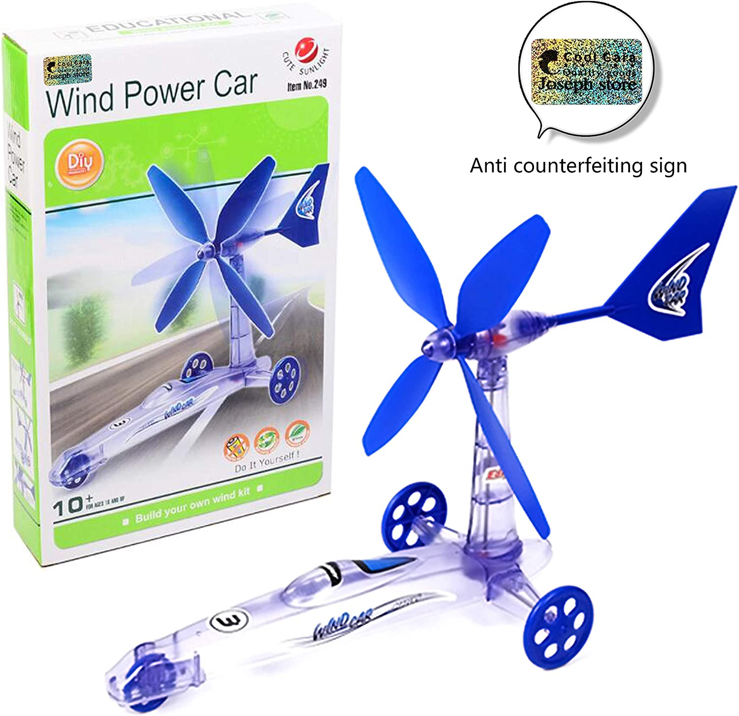 New Children Educational DIY Wind Energy Power Car Scientific Experiment Toys Science Teaching Toy Cool Cara/® Children DIY Wind Energy Power Car