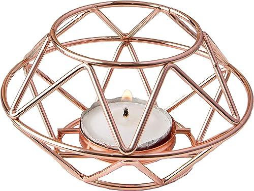 FASHIONCRAFT 8742 Geometric Design Rose Gold Metal Tealight Candle Holder
