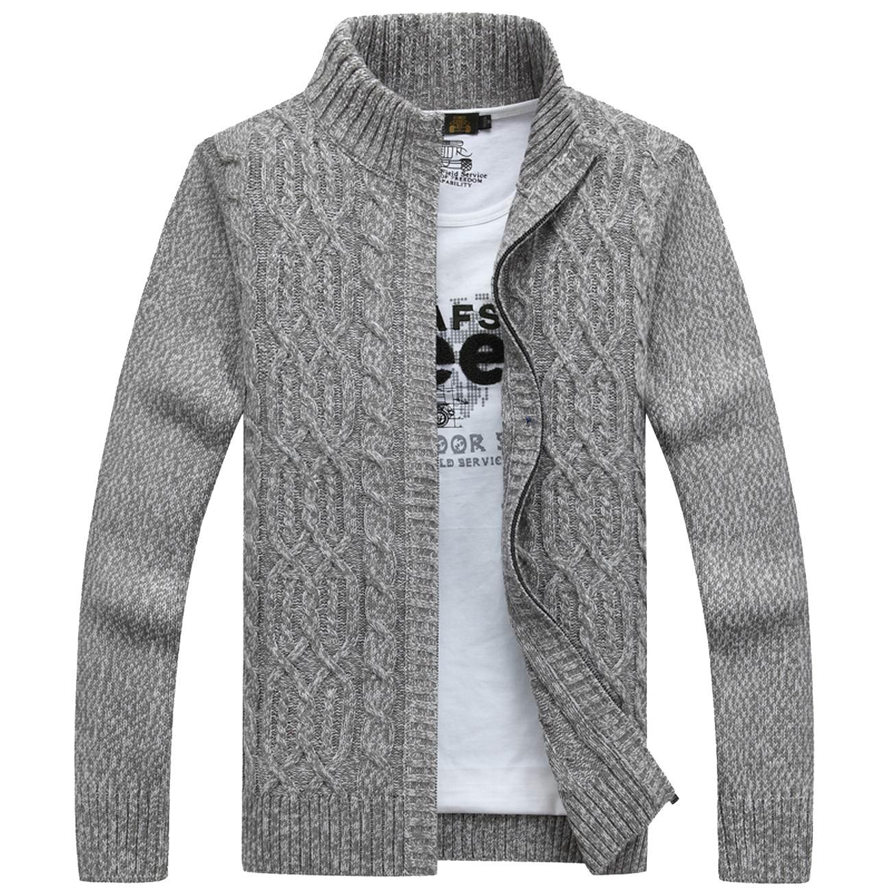 fanhang 7 Gauge Mens Slim FIt Zip Up Cardigan Knitwear