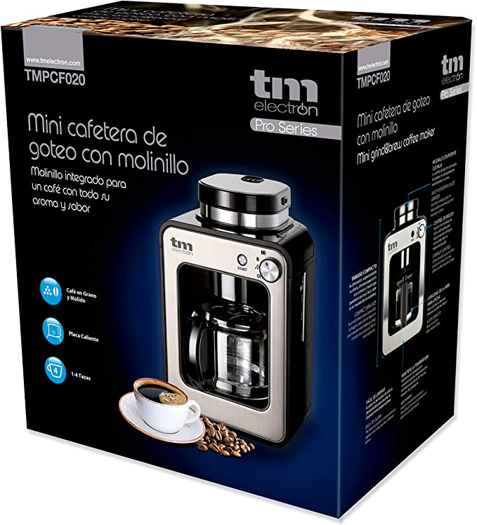 TM Electron TMPCF020S Mini cafetera de Goteo con Molinillo Grano ...