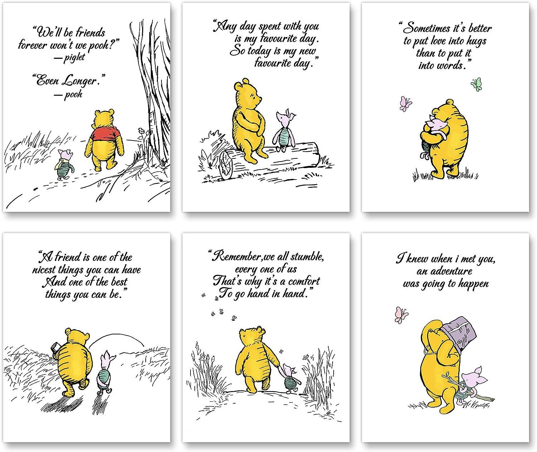 "Winnie The Pooh Art Prints,Nursery Wall Art Decor,Baby Bedroom, Kids Playroom Decor,Unframed Set of 6 (8""X10"")"
