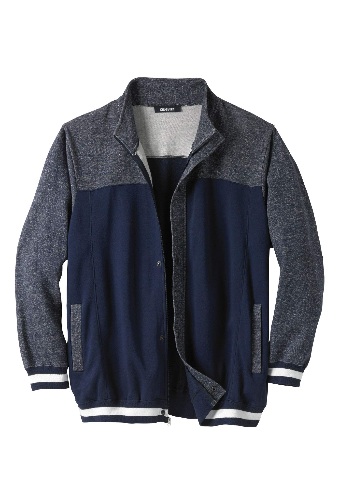 KingSize Men's Big & Tall Coaches Collection Baseball-Inspired Jacket, Navy Marl Tall-2XL by KingSize