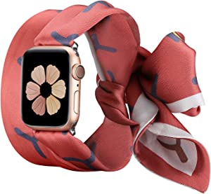 Wearlizer Compatible with Apple Watch Bands Scarf 38mm 40mm for iWatch Band Women Girls Fashion Scarf Replacement Wrist Strap for Apple Watch SE Series 6 5 4 3 2 1 - Pink White