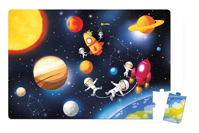 Janod - Maleta puzzle gigante de galaxia y astronautas, 36 piezas (J02995): Amazon.es: Juguetes y juegos