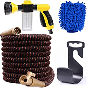 Expandable Garden Hose, Water Collapsible Hose with Dispenser Bottle and 8 Function Spray Nozzle, Durable 4-Layers Latex Core with 3/4