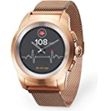 MyKronoz ZeTime Elite Hybrid Smartwatch 44mm with Mechanical Hands Over a Color Touch Screen – Brushed Pink Gold/Milanese