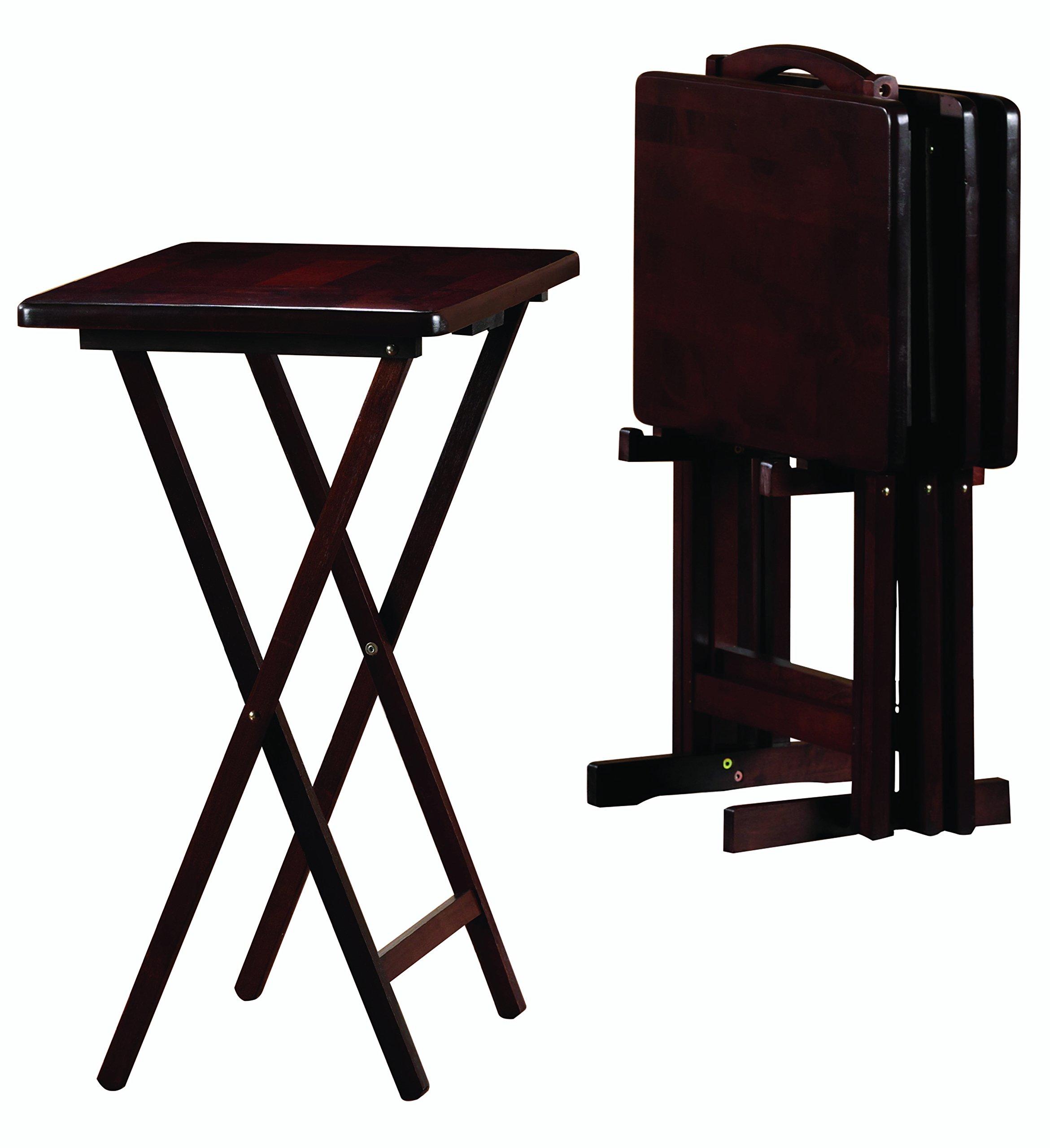PJ Wood 5-piece Folding TV Tray & Snack Table - Espresso Finish Rubberwood by PJ Wood