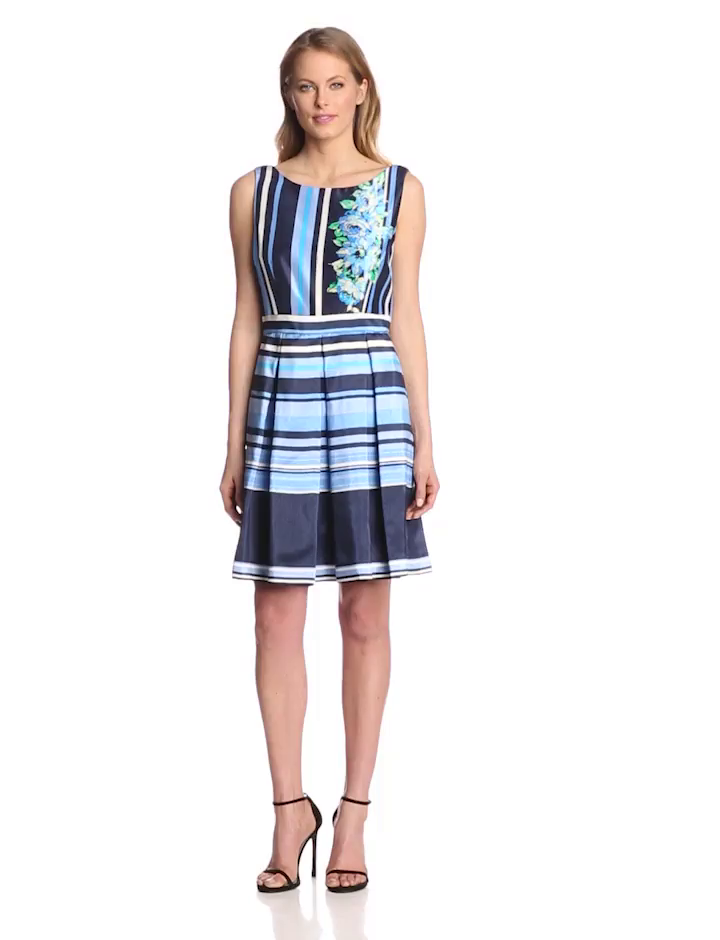 Julian Taylor Women's Sleeveless Stripe Fit and Flare Dress with Floral Detail, Blue, 14