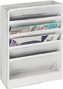 MyGift 5-Slot Vintage White Wood Hanging Wall Files Organizer, Wall-Mounted Magazine Holder