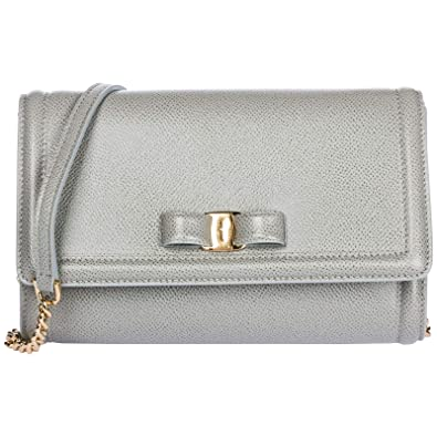 c271678f20 Salvatore Ferragamo women Fiocco vara mini bag pale grey  Amazon.co.uk   Shoes   Bags