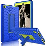 Kindle Fire 8 2018 Case, Kindle Fire 8 2017 Case, Zenic Three Layer Heavy Duty Shockproof Full-body Protective Hybrid Case With Kickstand for Kindle Fire 8 2018 Release/All-New Fire HD 8(Yellow/Blue1)