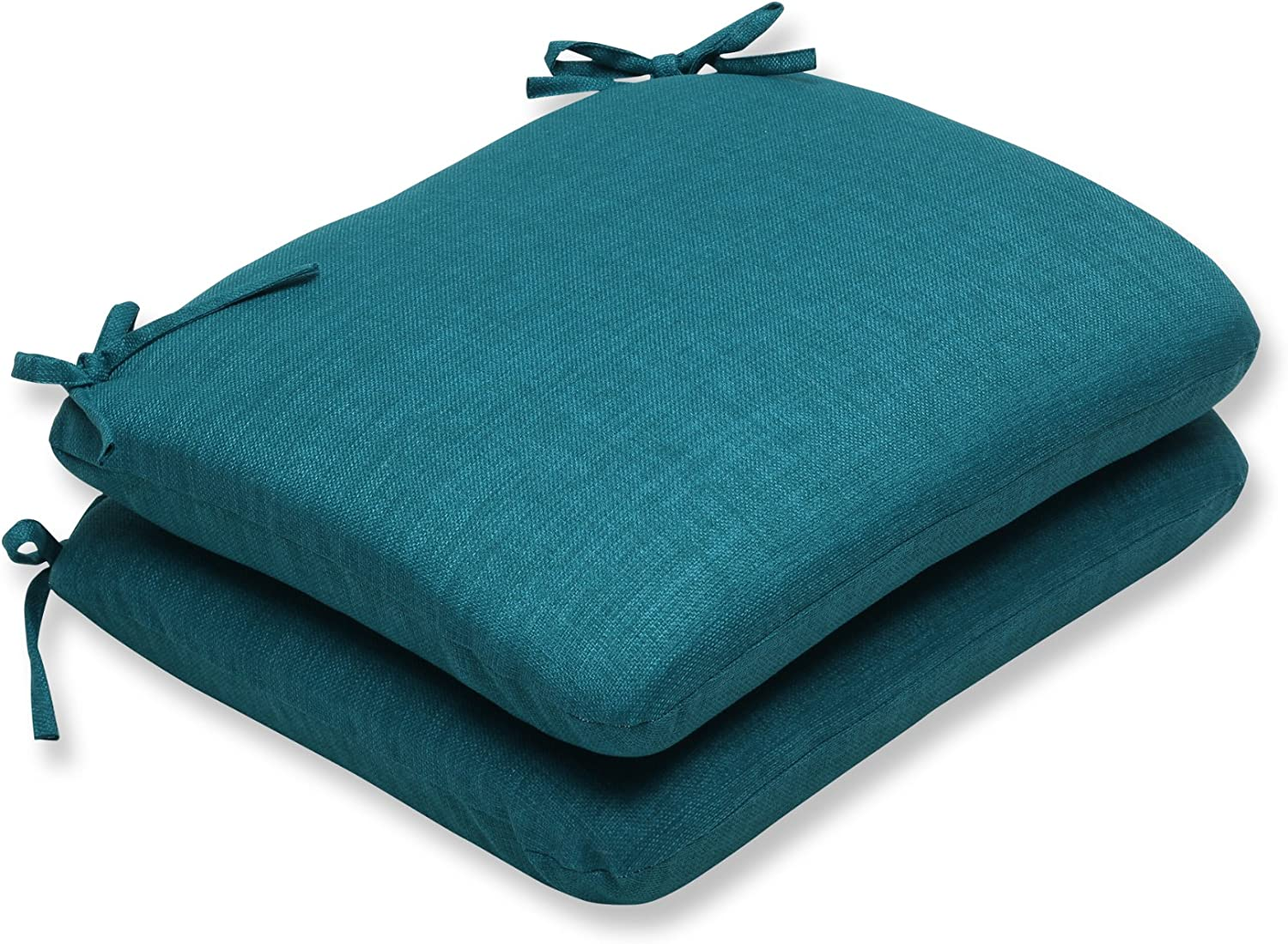 Pillow Perfect Outdoor Rave Teal Rounded Corners Seat Cushion, Set of 2
