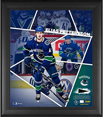 4c787e824 Elias Pettersson Vancouver Canucks Framed 15 quot  x 17 quot  Impact Player  Collage with a Piece