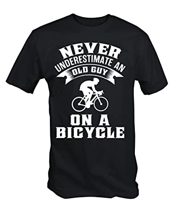 d70626dd0 Never Underestimate An Old Guy On A Bicycle Funny Cycling T Shirt:  Amazon.co.uk: Clothing