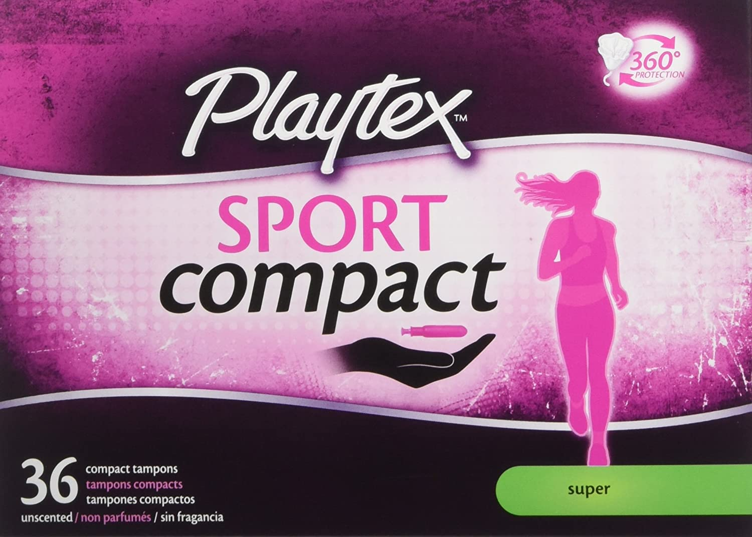 Playtex Sport Super Absorbency Compact Tampons, 36Count Pack of 3