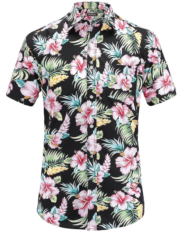 TALLA 3XL. JEETOO Camisa Hawaiana de Flores Manga Corta Casual para Hombre