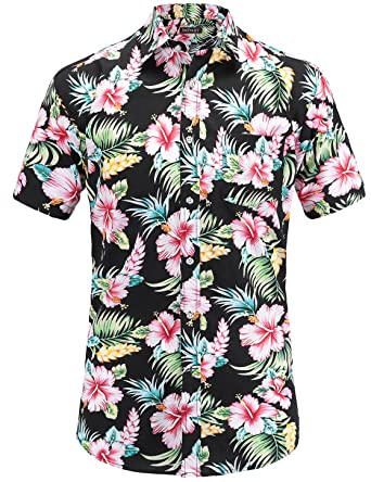 7a62bde5 JEETOO Men's Flowers Casual Aloha Hawaiian Shirt Short Sleeve(Small,Black)