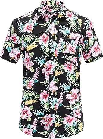 Jeetoo - Camisa hawaiana de manga corta con flores para hombre Negro 3XL: Amazon.es: Ropa y accesorios