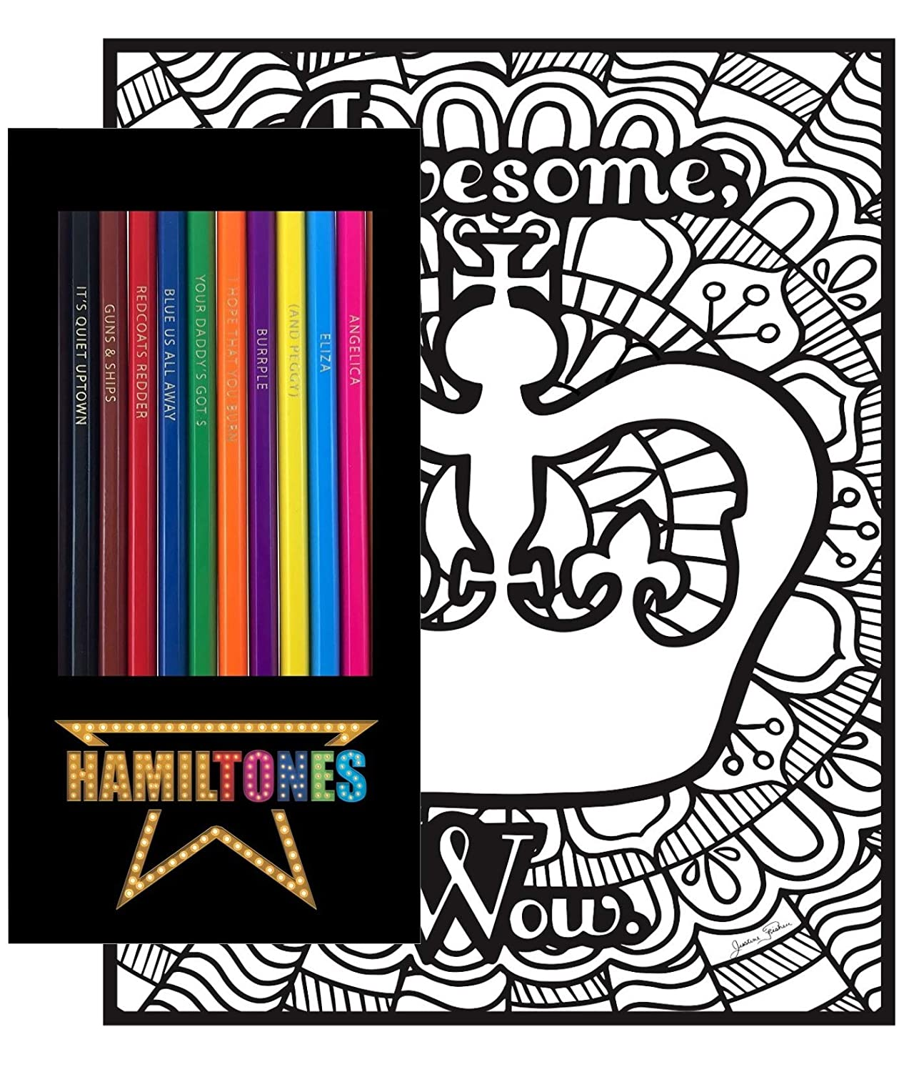 Hamiltones Colored Pencils//Pages Gift Set 12 Broadway Musical Themed Pencils and Pack of 4 Coloring Pages