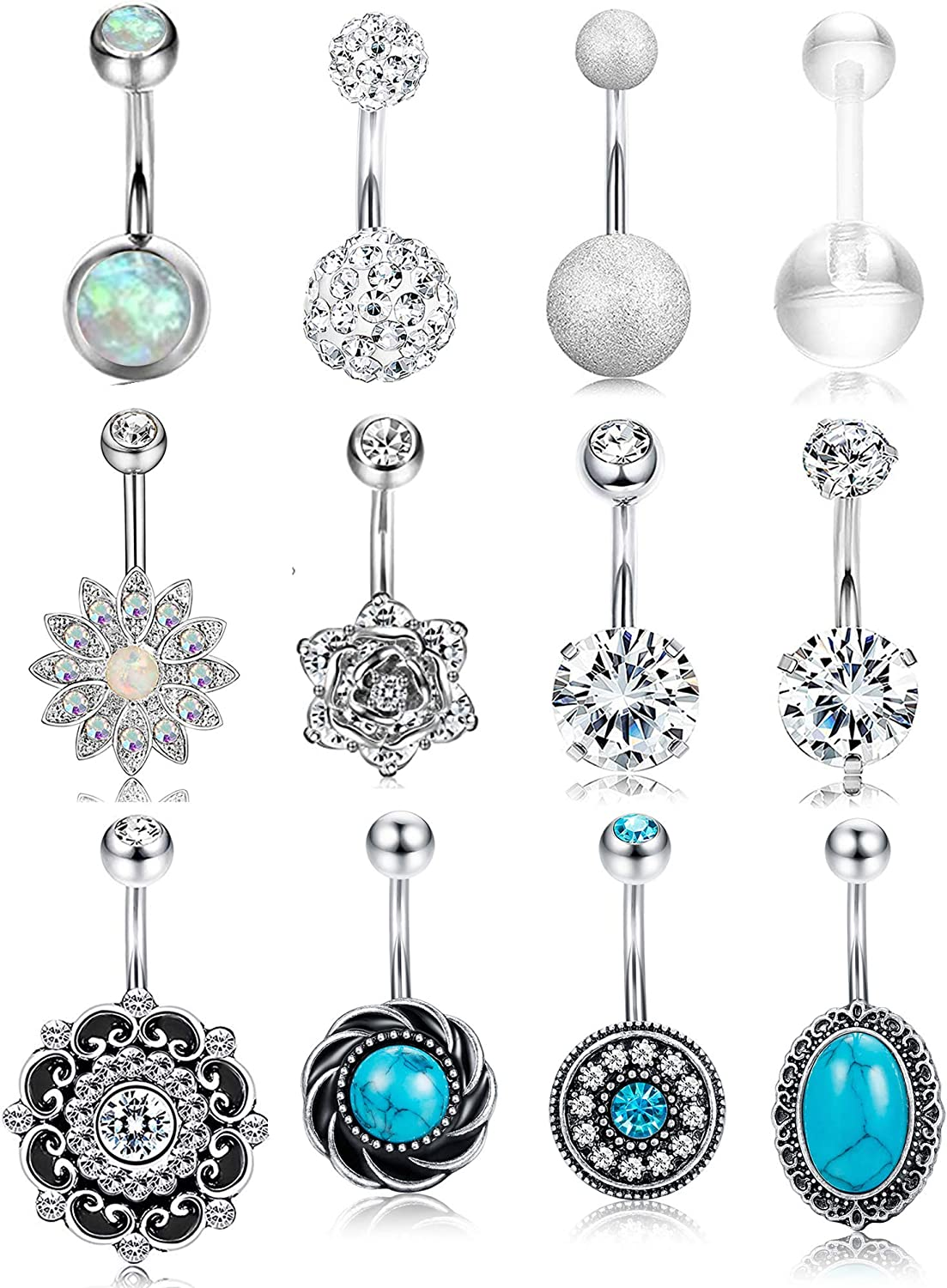 Belly barbell Belly button piercing Belly button rings surgical steel Belly ring Belly piercing 8mm Navel ring Belly button ring short