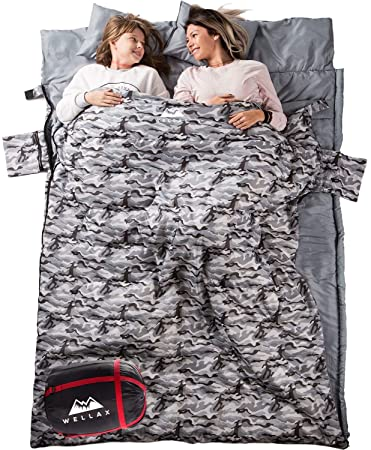 WELLAX Double Sleeping Bag for Camping, Backpacking or Hiking -Perfect Sleeping Sack for Couples- Extra Large 3 Season Waterproof Sleeping Bag for 2 Person Adults