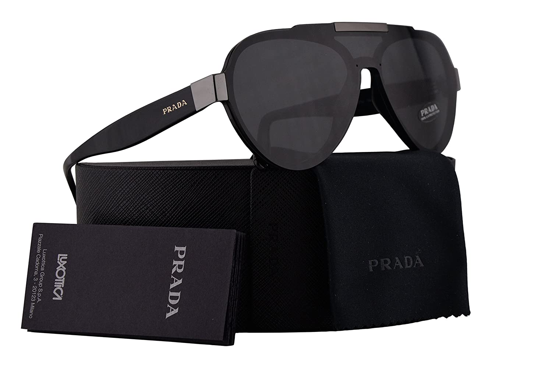 eb5275f796d5 Amazon.com  Prada PR01US Sunglasses Black w Grey 44mm Lens 1AB5S0 SPR01U PR  01US SPR 01U  Clothing