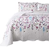 Bedsure Queen/Full Size (90x96 inches) 3-Piece Quilt Set Coverlet, Lilac Flower Pattern, Lightweight Design for Spring…