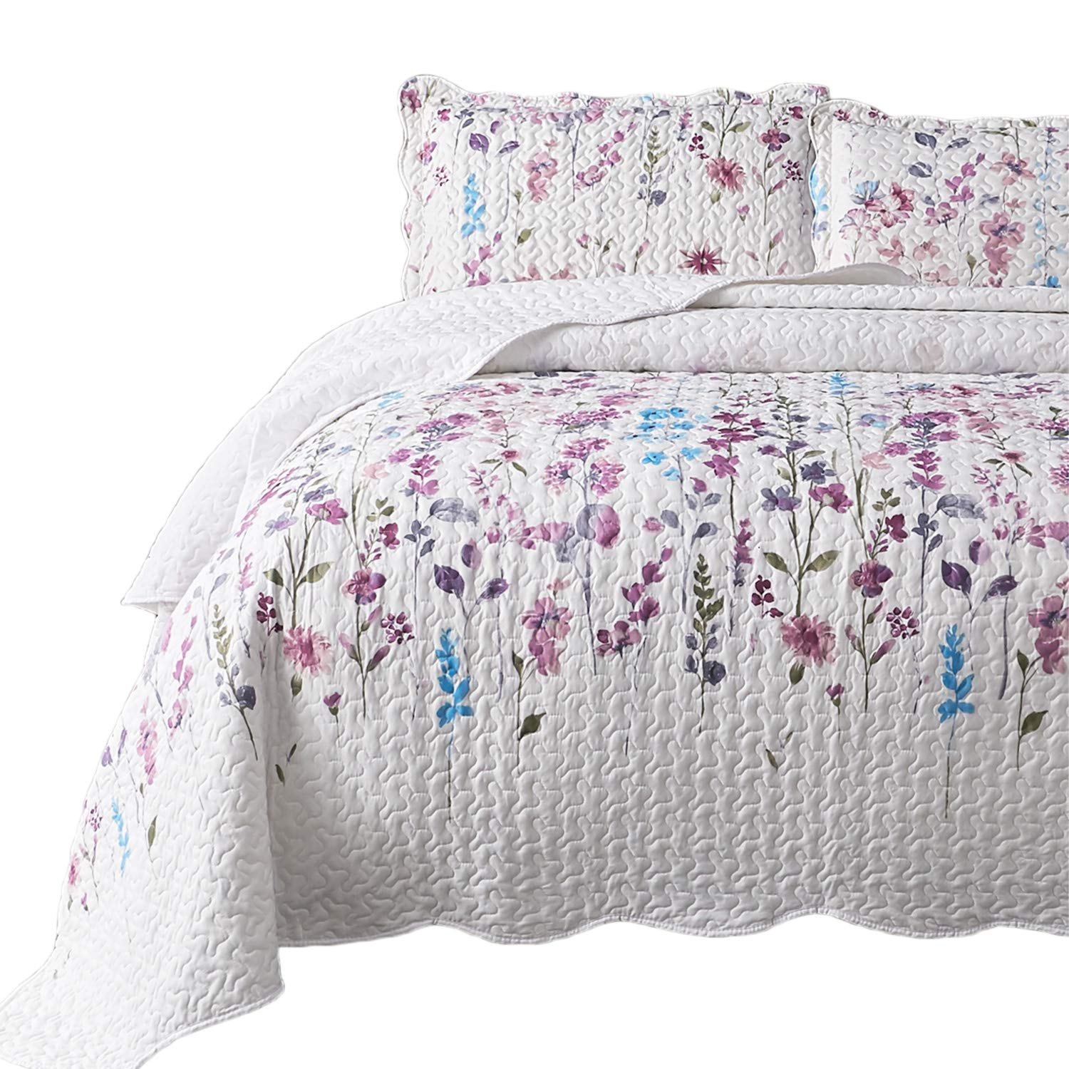 Bedsure Queen/Full Size (90x96 inches) 3-Piece Quilt Set Coverlet, Lilac Flower Pattern, Lightweight Design for Spring and Summer, 1 Quilt and 2 Pillow Shams by Bedsure