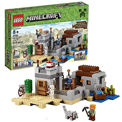 Lego Year 2015 Minecraft Series Set #21121 - THE DESERT OUTPOST with Boat, Cactus, Lookout Tower, Wolf, 2 Skeletons Plus Alex and Steve Minifigure (Pieces: 519): Toys & Games