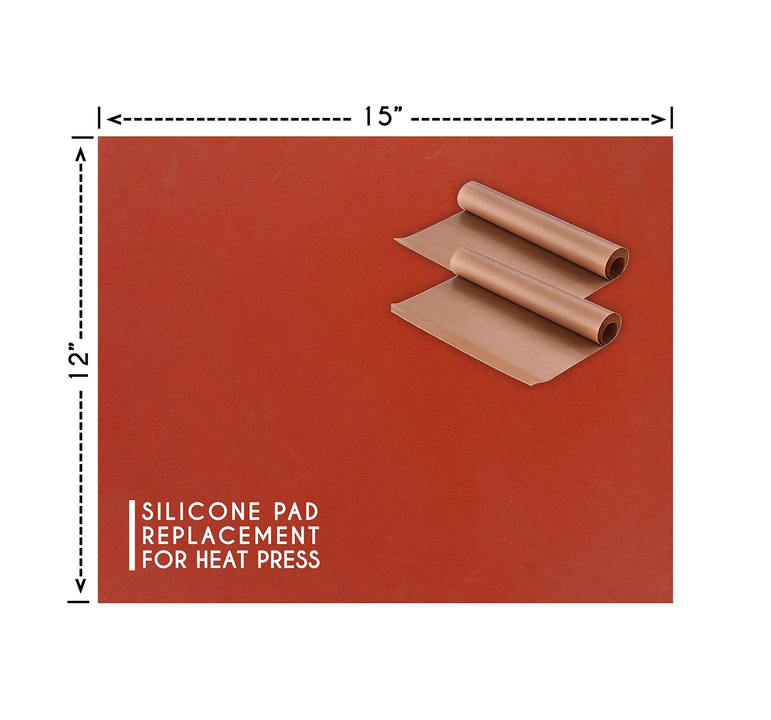 Silicone Pad for Heat Press Replacement - 12 X 15 Inches   Bonus - 2 Teflon Sheets by Akshaya